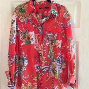 NWT Lauren by Ralph Lauren Tunic Silk/Cotton Tunic